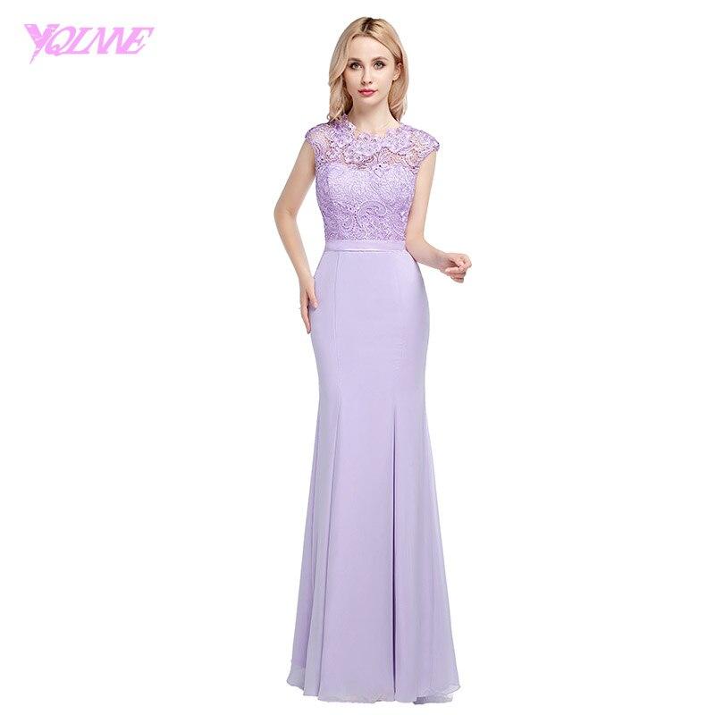 YQLNNE 2018 Lavender Long Chiffon   Bridesmaid     Dresses   Mermaid Lace Wedding Party   Dress   Floor Length