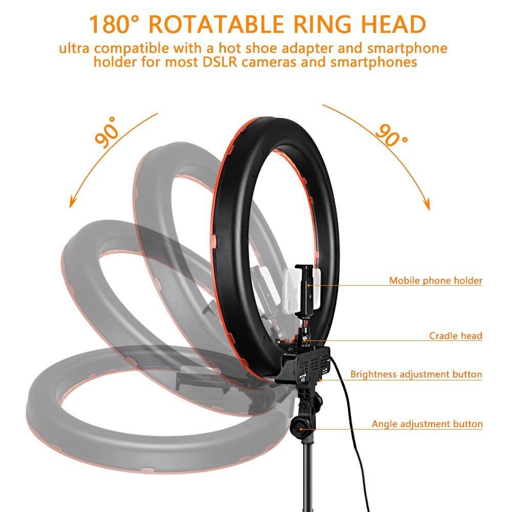Image 2 - Travor RL 18 Dimmable photography ring light with carry bag 240pcs led beads inside 55w ringlight lamp for makeup & light tripod-in Photographic Lighting from Consumer Electronics