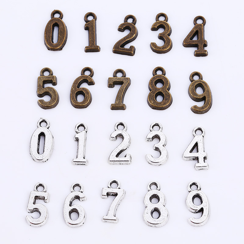 Vintage Metal Number 0-9 Charms for Jewelry Making Diy Zinc Alloy Numbers Pendant Charms Wholesale 60pcs C9012 jewelry making
