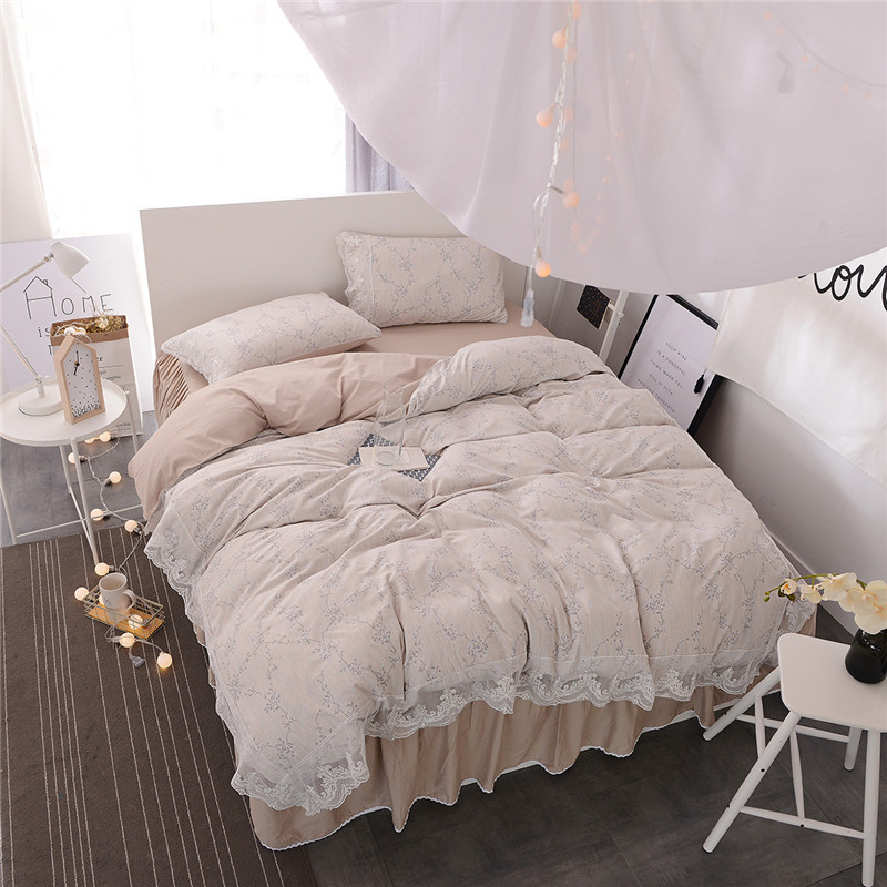 2017 New Silk Cotton Exclusive Miss Lace Bedding Set soft silky Duvet cover set Bedskirt Pillowcases Twin Queen King size 3/4Pcs2017 New Silk Cotton Exclusive Miss Lace Bedding Set soft silky Duvet cover set Bedskirt Pillowcases Twin Queen King size 3/4Pcs
