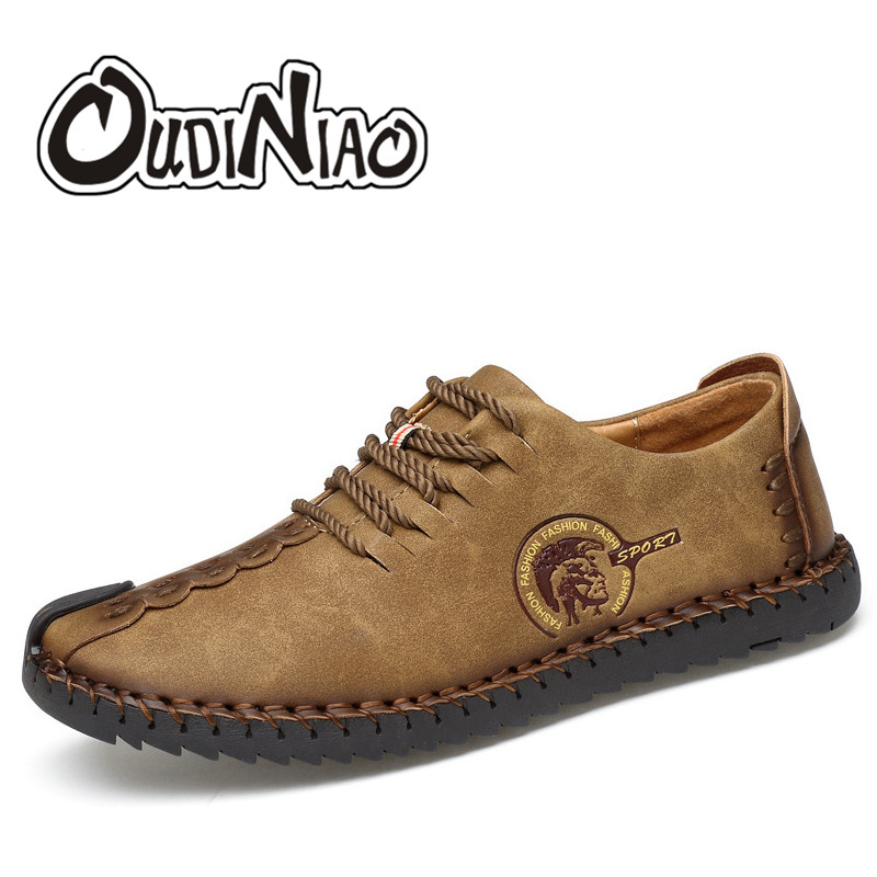 OUDINIAO Men Shoes Big Size Lace Up Comfort Split Leather Men Casual Shoes Handmade Loafers Luxury Slip On Mens Shoes Casual branded men s penny loafes casual men s full grain leather emboss crocodile boat shoes slip on breathable moccasin driving shoes