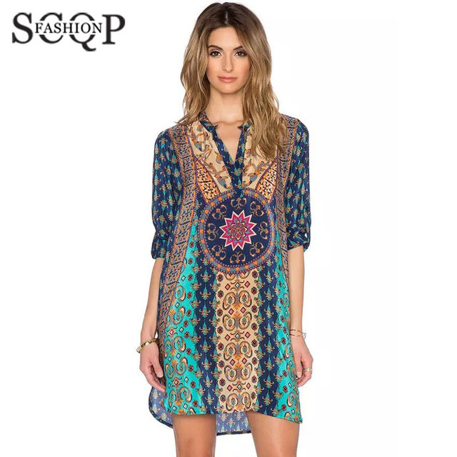 Aliexpress.com : Buy SCQP Blue Printed Women Summer Dresses V neck ...