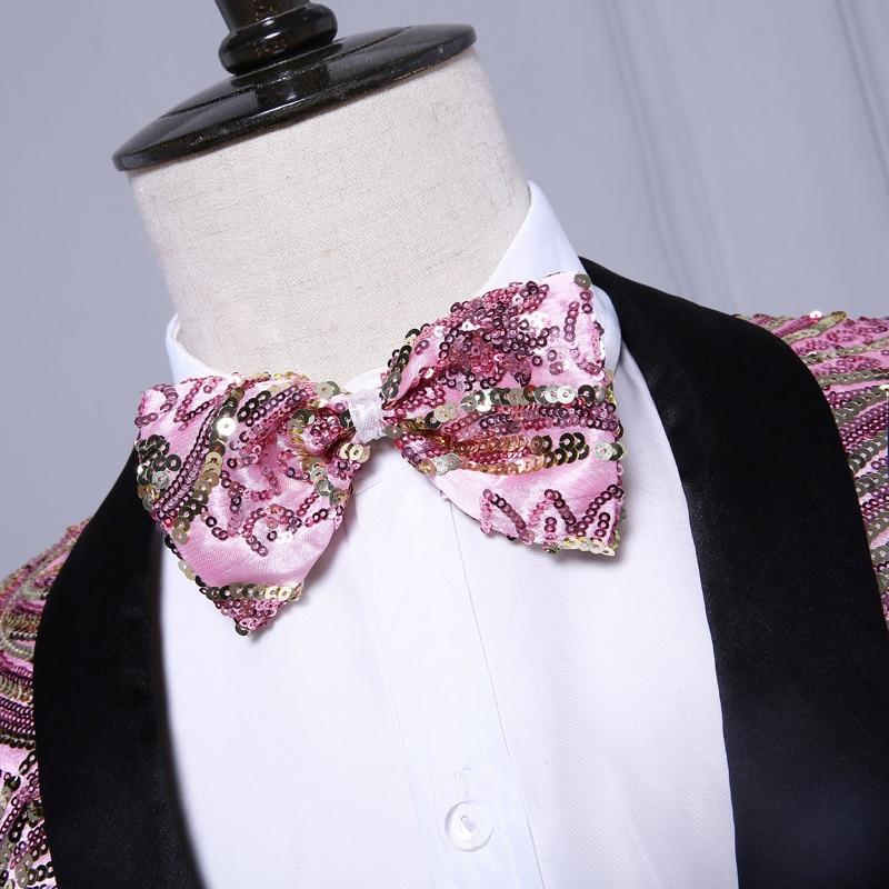 PYJTRL Mens fashion Shawl Laple Pink Gold Sequins Paillette Wedding Groom Suits Stage Singer Nightclub Bar DJ Slim Fit Tuxedo