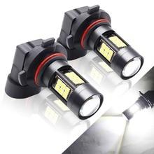 BOODLIED 2pcs 12V-24V LED Car Headlights 9005/HB3 3030 Chipsets 27 SMD White 6000K Lamps For Auto Fog Lamp