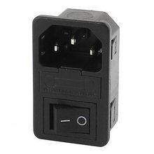 AC 250 В 10A 4 клеммы черный кулисный переключатель на входе Мощность разъем ж держатель предохранителя