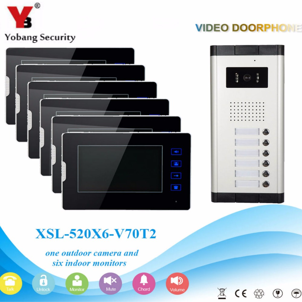 YobangSecurity 6 Units Apartment Video Intercom 7 Inch Monitor Wired Video Doorbell Door Phone Speakphone Intercom System Kit apartment intercom system 7 inch monitor 6 units apartment video door phone intercom system video intercom doorbell kit