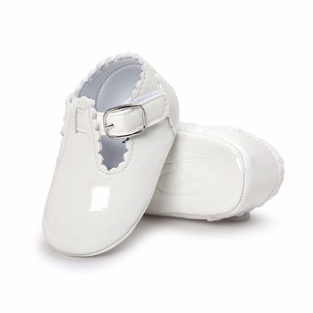 2018 New Design Solid Simple Style Border PU Leather Hook & Loop Baby Girl Princess Shoes For 0-18 Months