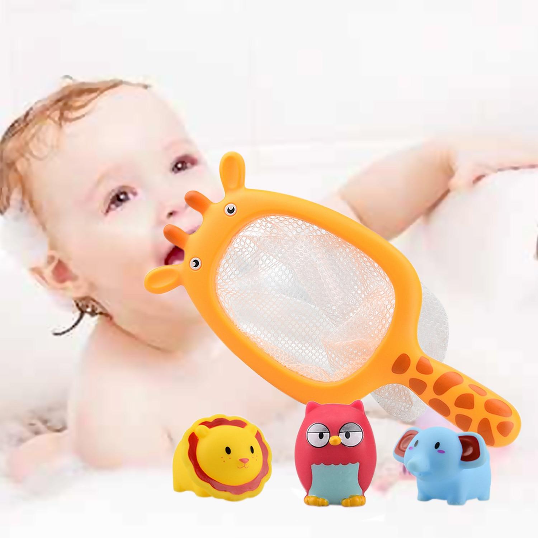 4 PCS Cute Cartoon Children Kids Animal Bath Bathtub Fishing Floating Game Toy + Catching Net Set Swimming Bath Fountain