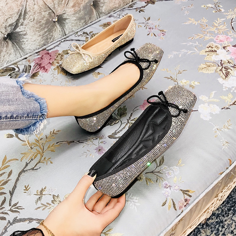 Detail Feedback Questions about SWYIVY Women s Flats Rhinstone Bow Autumn  2018 New Female Fashion Ballet Shoes Crystal Comfortable Lady Flats Shoes  41 Plus ... a753dcf8dba9