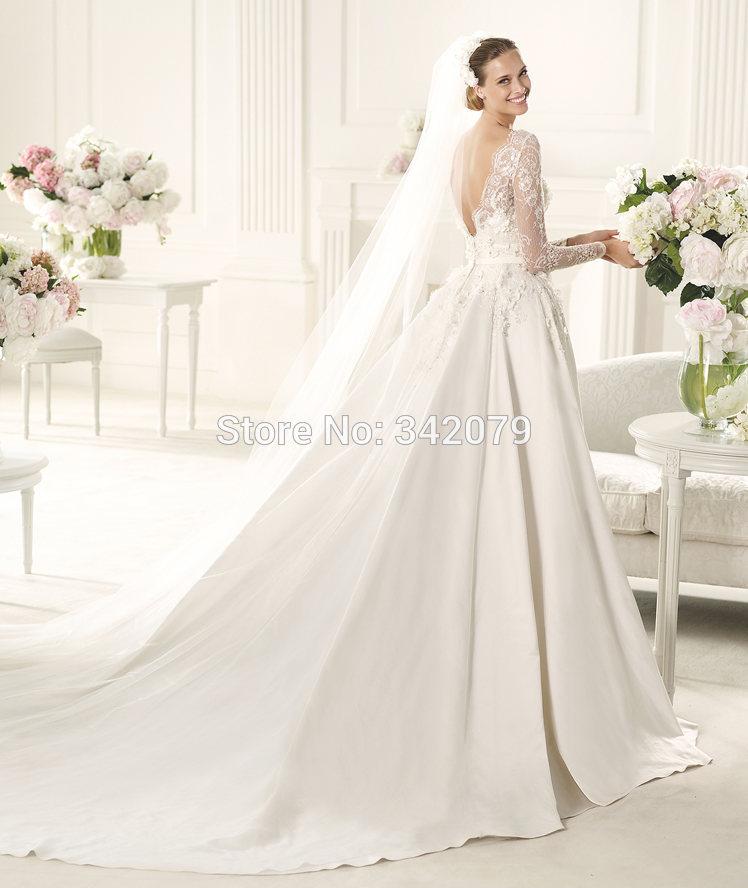 Ph15610 Bridal Dress Satin Lace Appliques Princess Cut Dress Long
