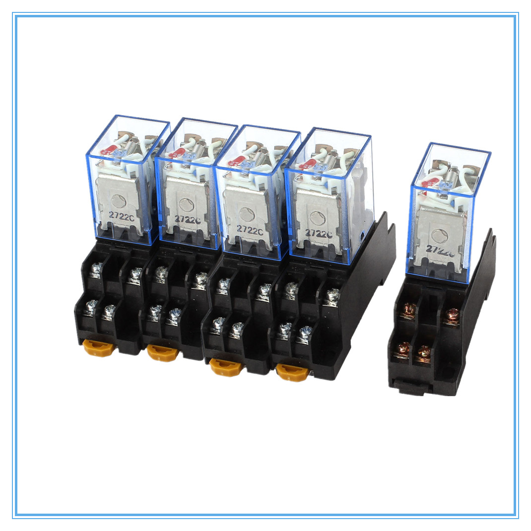 5-10set MY4NJ 12VDC 24VDC 110VAC 220VAC Power Relay HH54P 14Pin 5A w Socket Base