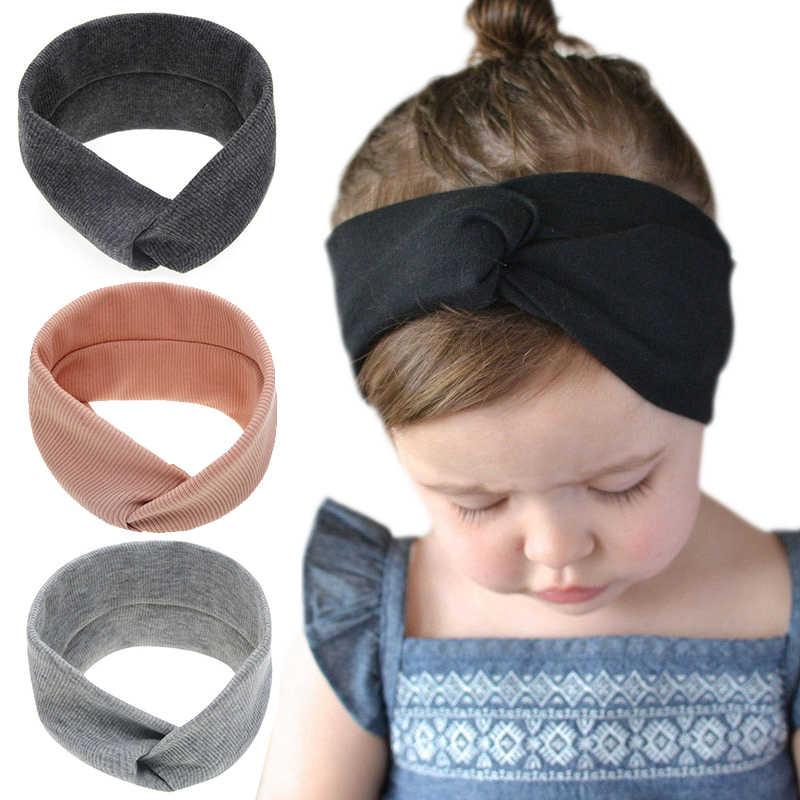 Moda çapraz elastik kafa bandı düğümlü yay hairband Türban Başkanı Wrap Kulakları Sıcak barrette Şapkalar bebek Kız saç aksesuarları