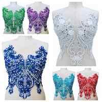 3D fleur en trois dimensions coudre sur strass perles ivoire dentelle bordure en appliqué patchs 40*32 cm pour accessoire de robe