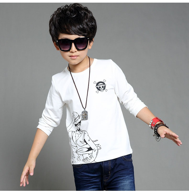 anime Skull sprinted kid t-shirt for boys clothes t-shirt long sleeve white gray cartoon children tops tees boys spring autumn 2017 new clothing (12)