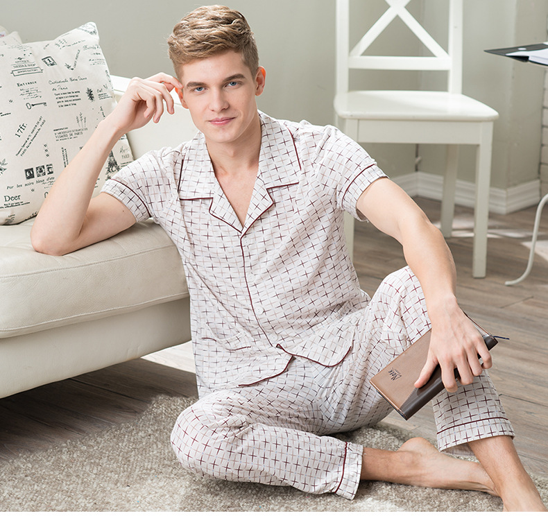 Newest Men's Pajamas Spring Summer Autumn Short Sleeve Sleepwear 100% Cotton Short Pajamas Set Newest Men's Home Clothing