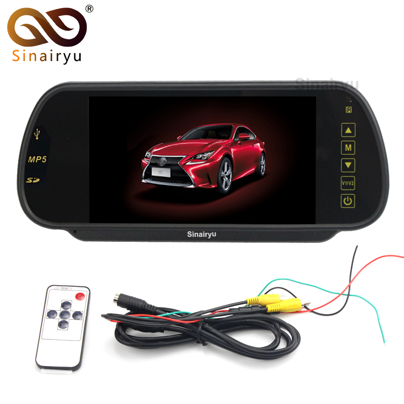 Sinairyu HD 7″ TFT LCD Car Rear View Mirror Parking Monitor MP4 FM Transmitter Speaker Kit SD USB With Bluetooth Hands-Free Kit
