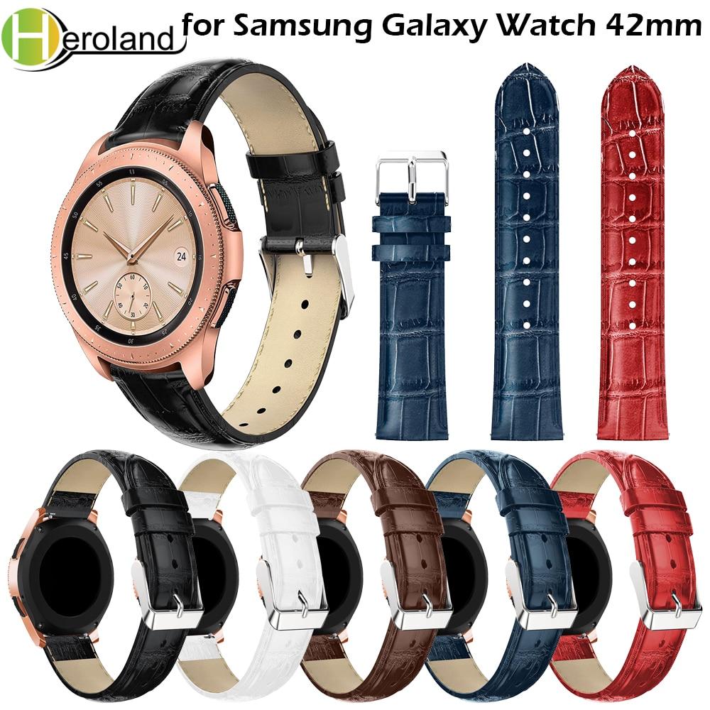New Fashion For Samsung Galaxy Watch 42mm Smart Watch Band Wrist Bracelet Crocodile Belt Trap 20mm Replacement Watchbands 2018