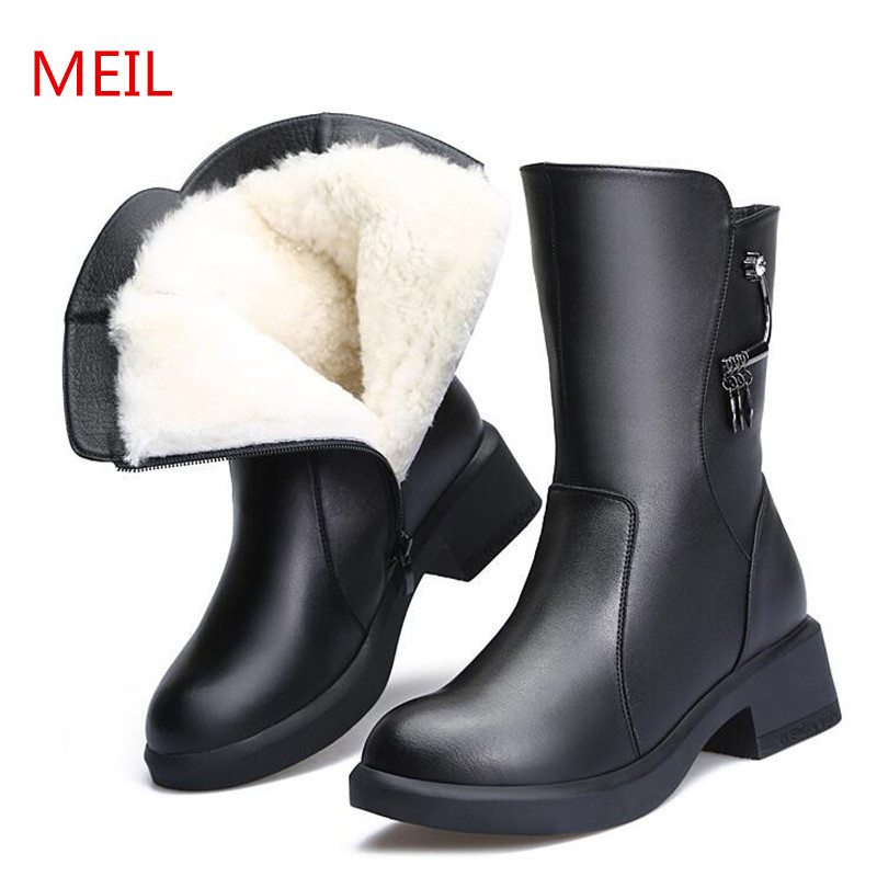 Ladies Shoes Genuine Leather Winter Boots Women Keep Warm Shoes Female Mid-Calf Platform Snow Boots 2018 Shoes Woman Big Size 41 цена