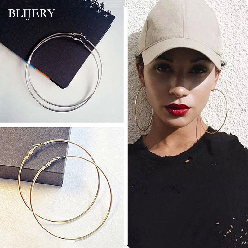 BLIJERY Sexy 80-100MM Big Hoop Earrings Fashion Exaggerated Smooth Circle Earrings For Women Girls Punk Jewelry Party Gifts