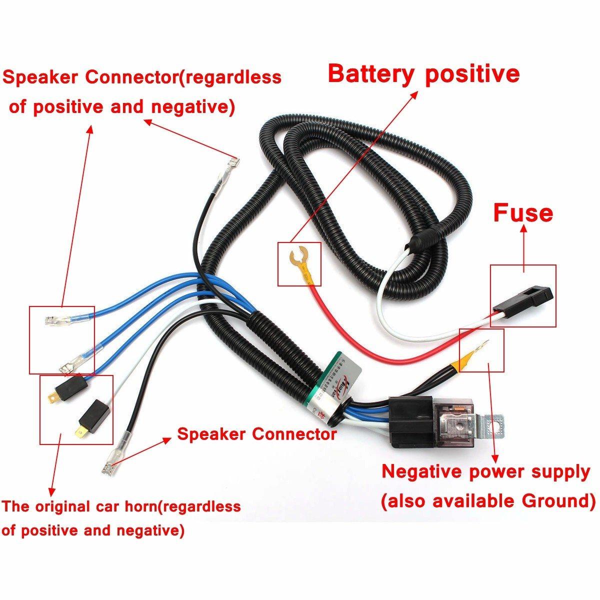 medium resolution of 12v truck car horn relay wiring harness kit for grille mount blast horn wiring kit india