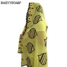 BM410! Последние африканские женские шарфы, мусульманская вышивка шифон большой шарф 2,0*1,0 метров