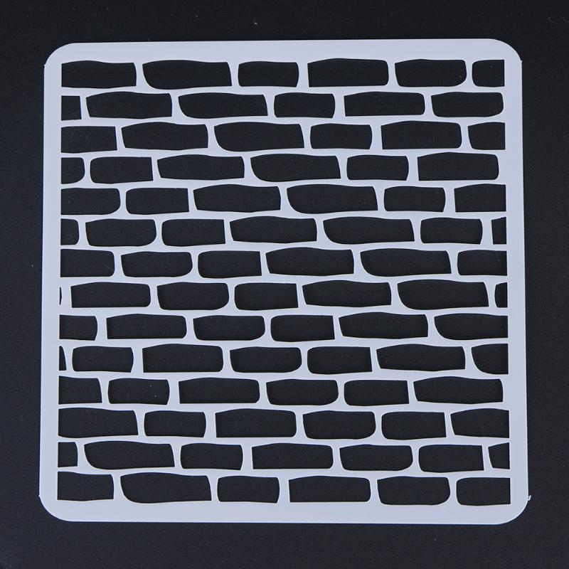 Brick Stencils For DIY Scrapbooking Plastic Handmade Template Photoalbum Diary Decor Painting Drawing Spray Tools Card Pochoir