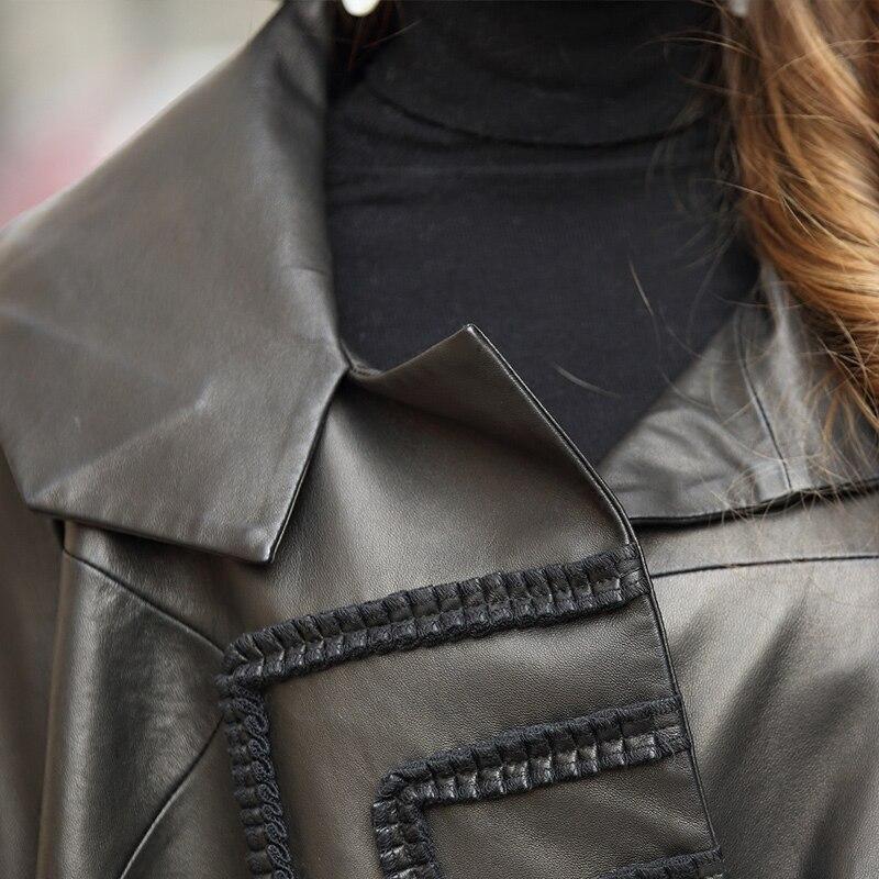 Femme Automne Black Tcyeek Réel Printemps Vêtements Irrégulière Veste Véritable Peau 2019 Manteaux En Mouton Femmes Cuir Montone Lwl1466 Lâche De Long 6Fp6Rqan