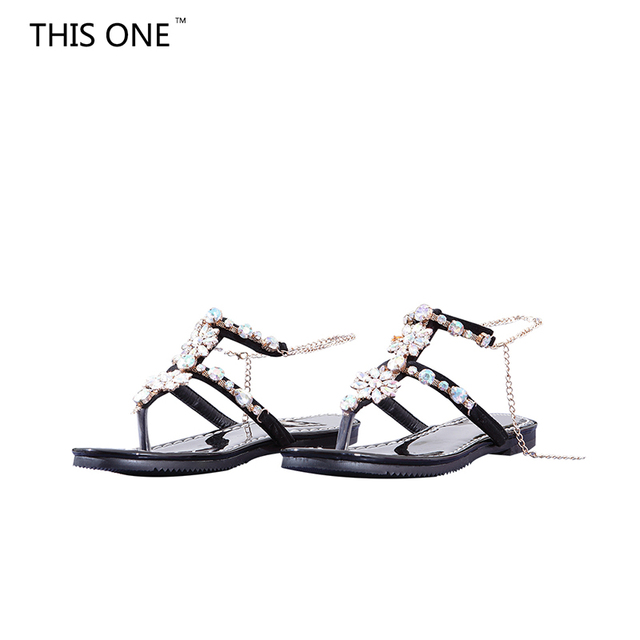f5413c1dd95105 2018 Woman Sandals Women Shoes Rhinestones Chains Thong Gladiator Flat  Sandals Crystal Chaussure Plus Size 43 tenis feminino