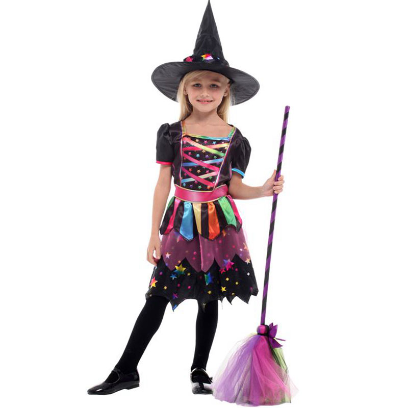 The Star Rainbow Witch Enchantress Costume Sorceress Costumes For Girls Girl Halloween Purim Party Carnival Cosplay Dress Up