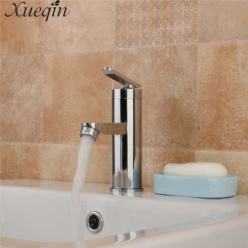 Xueqin Single Handle Bathroom Hot/Cold Water Mixer Taps Basin Bathroom Kitchen Deck Mounted Brushed Chrome Basin Faucet