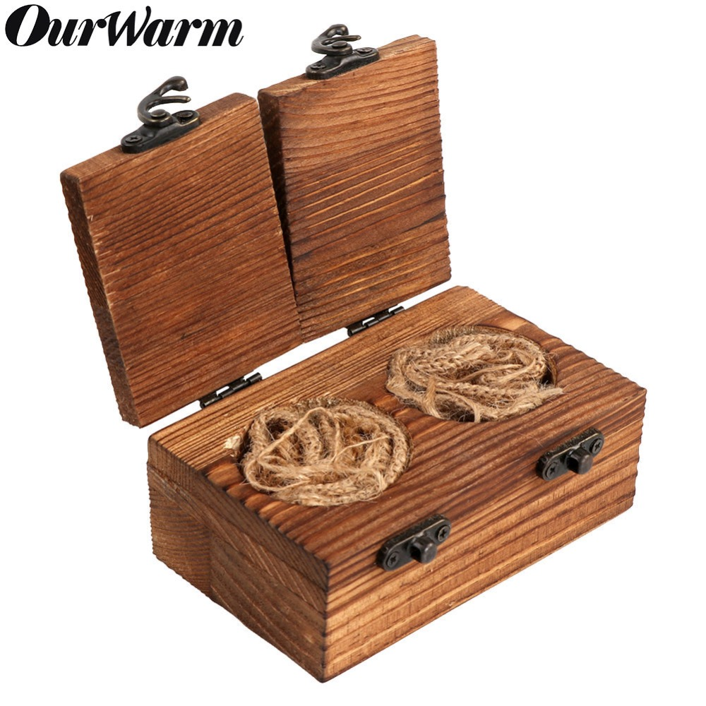 Party-diy-dekorationen Kreativ Ourwarm Ring Box Holz Mr Mrs Hochzeit Ring Box Halter Holz Engagement Ring Box Rustikalen Hochzeit Decor 11x7x5 Cm Einfach Und Leicht Zu Handhaben