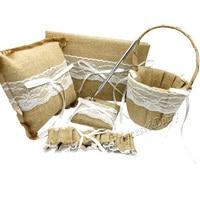 5Pcs/set Burlap Hessian Lace Wedding Guest Book& Pen Set &Ring Pillow &Flower Basket &Garter Decoration Bridal Product Supplies