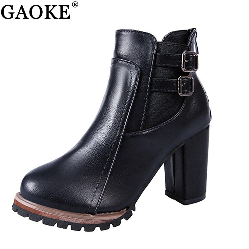 GAOKE 2018 Autumn Winter Fashion Women Boots High Heels Platform Buckle Leather Short Booties Brown Ladies