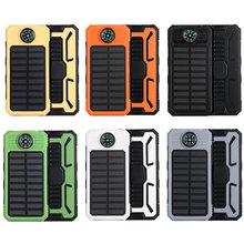 20000mAh o dużej pojemności kompas bateria słoneczna przenośna ładowarka podwójne wyjście USB bateria zewnętrzna wodoodporna mobilna energia słoneczna tanie tanio centechia Panel słoneczny Monokryształów krzemu DZ00909-01 145*75*20mm Outdoor compass solar mobile power Suitable for all devices with USB charging