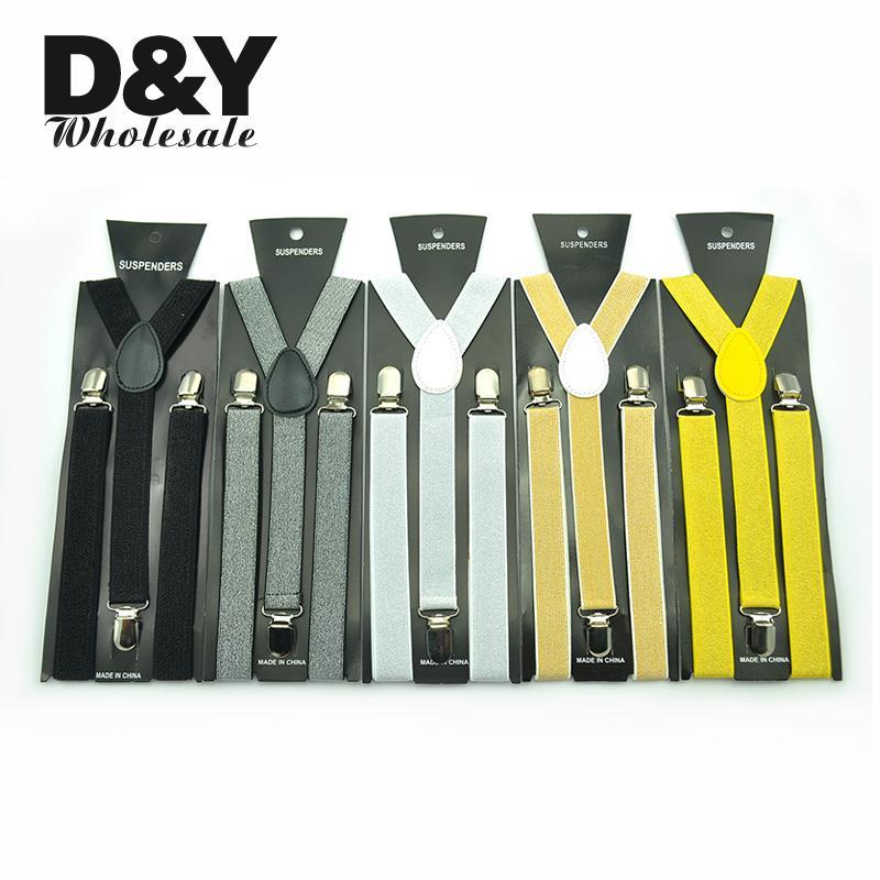 Fashion 1 Inch Women Men Unisex Clip-on Braces Elastic Slim Suspender 17 Colors Glitter Classic Y-back Suspenders Brace Strap