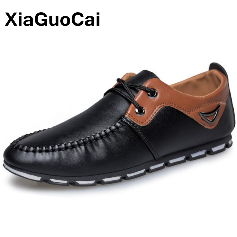 XiaGuoCai Spring Autumn Fashion PU Leather Moccasins Men Casual Shoes Lightweight Driving Shoes Male Boat Shoes Doug Shoes 2017 spring autumn lightweight men