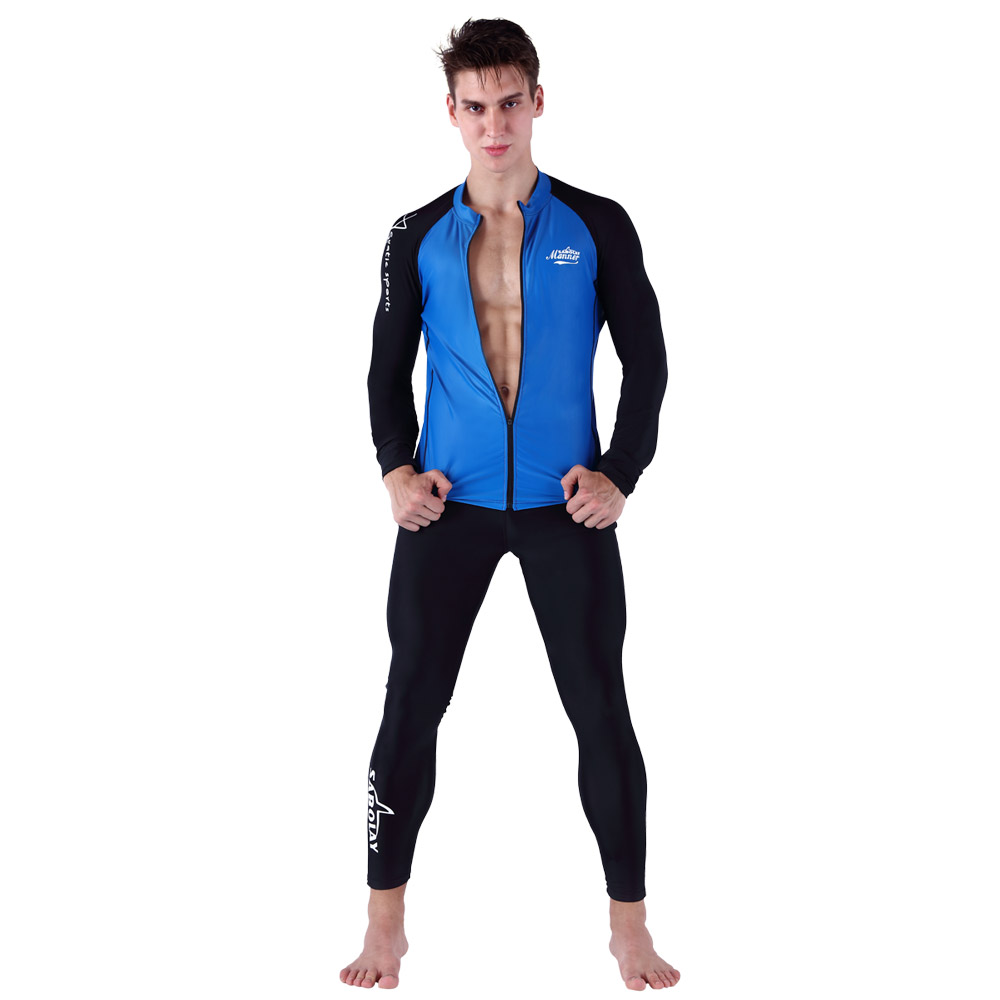 Couples long sleeve swimwear rashguard surf clothing diving suits spearfishing kitesurf men zippered and pants NYS623