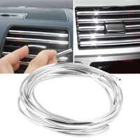 Alta calidad 4m x 8mm forma U DIY coche Interior rejilla de ventilación interruptor de borde de ajuste de salida Decoración moldura de tiras de plata cromada