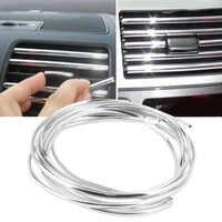 Alta qualidade 4m x 8mm u forma diy interior do carro de ventilação ar grille switch rim guarnição tomada decoração tira moldagem cromo prata