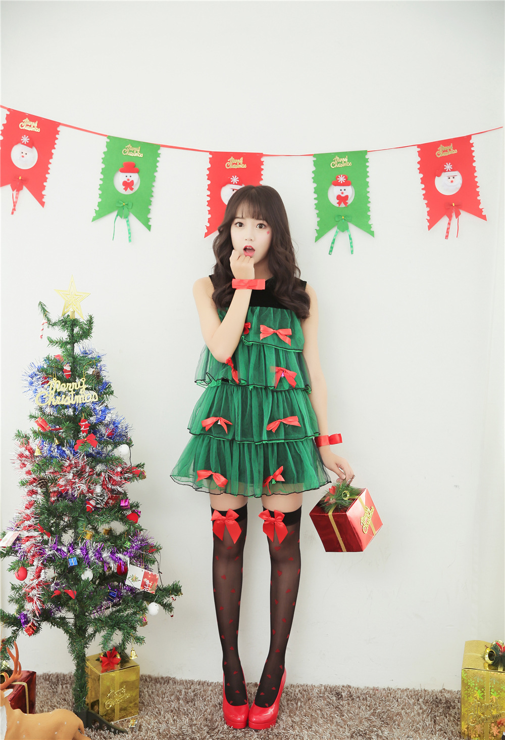 New Arrival Women Christmas Costume Tree Style Green Christmas Fancy  Dress Women Christmas Cosplay Costume