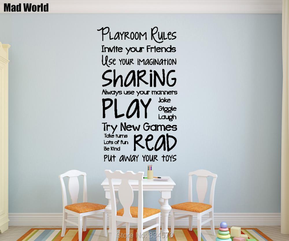 Bezaubernd Wandtattoo Welt Beste Wahl Mad Spielzimmer Regeln Kinder Spielen Wandkunst Aufkleber