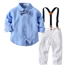 Clothing Set  For Toddler Autumn Gentleman Children Boy Clothes Sets Formal Shirt +Braces Pants 2pcs Boys Costume For 3M-3T Baby 2pcs new children s leisure clothing sets kids baby boy suit vest gentleman clothes for weddings formal clothing toddler boys
