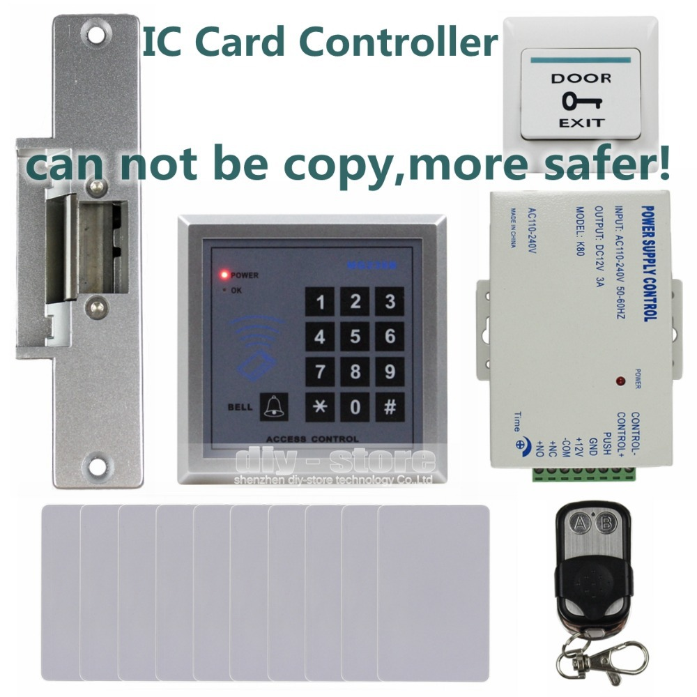 DIYSECUR 13.56 MHz IC Card Reader Keypad Access Control System Security Kit + Electric Strike Door Lock + Remote Control MG236B access control mg236b