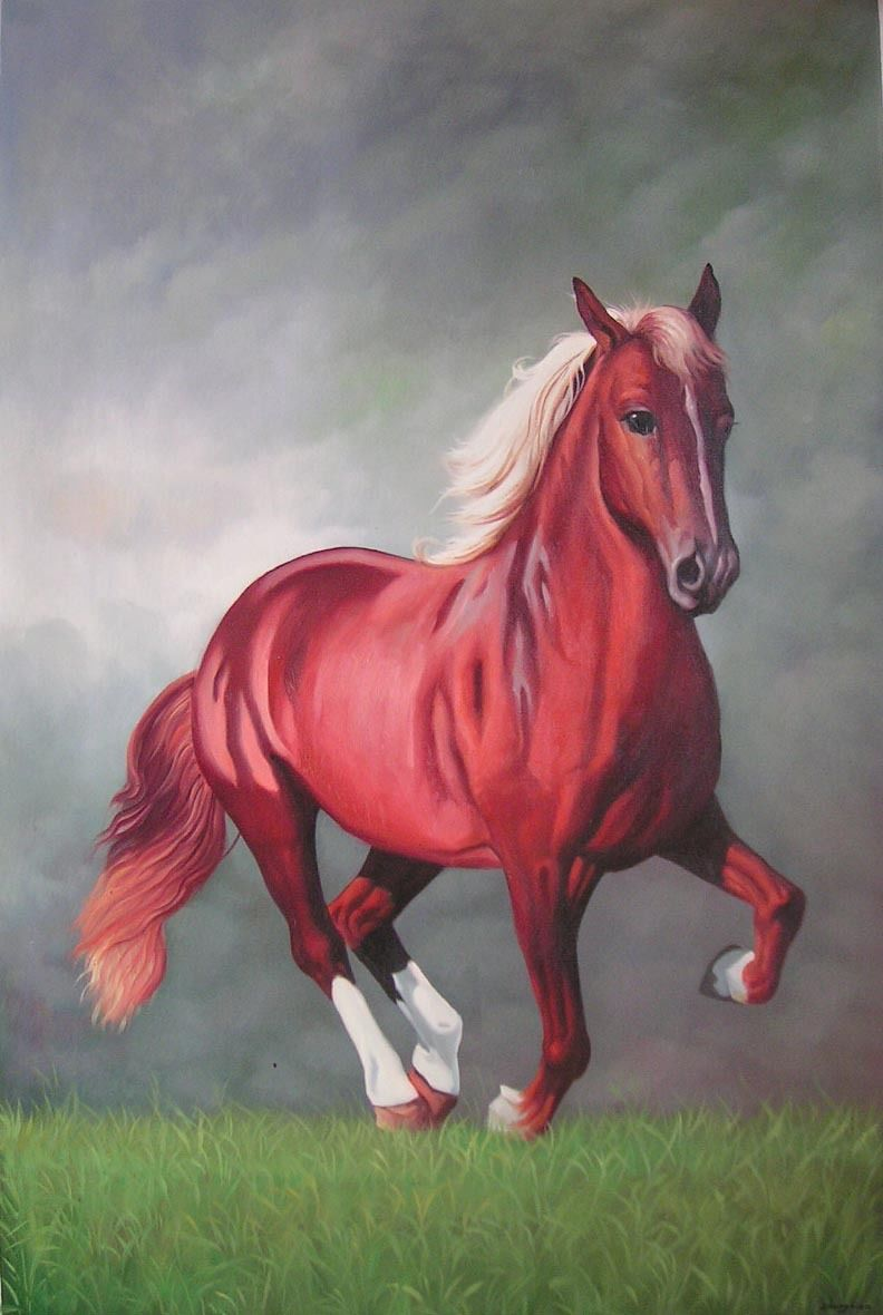 Art Oil painting running red horse in landscape in the morning Hand painted