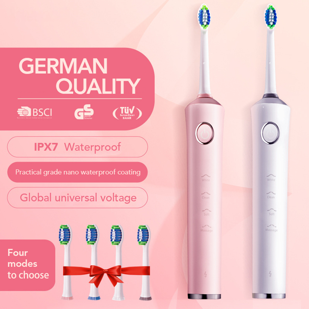Ultrasonic Electric Toothbrush Rechargeable 4 Modes Timer Sonic Tooth Brush Electric Charger with 4 Replacement Heads For Adult цена и фото