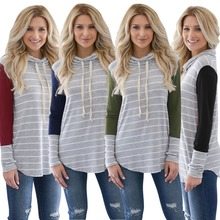 New spring and autumn popular fashion personality round neck striped straight casual stitching female jacket