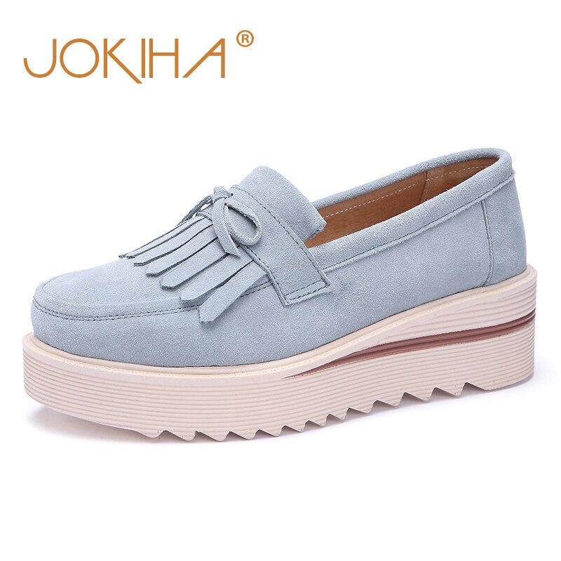 2018 Platform Increase Heels Shoes Woman Cow   Suede     Leather   Fringe Flat Platform Women Shoes Ladies Causal Flatform Loafers Shoe
