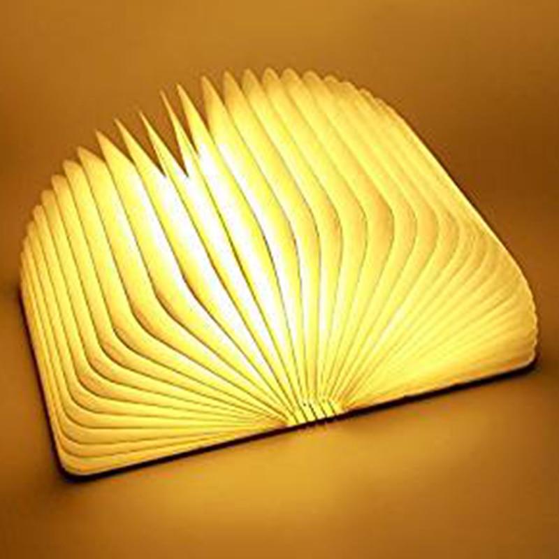 USB Rechargeable LED Foldable Wooden Book Shape Desk Lamp Nightlight Booklight for Home Decor Warm White Light Drop Shipp 120*90