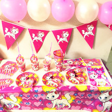 Marie Cat Theme Birthday Party Decorations Disposable Tableware Set Baby Shower Girl Decor Supplies