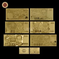 Normal gold banknote Rare Thailand Set 10.20.50.100.500.1000 Paper Money Plated Gold  Paper Collection Business Gift